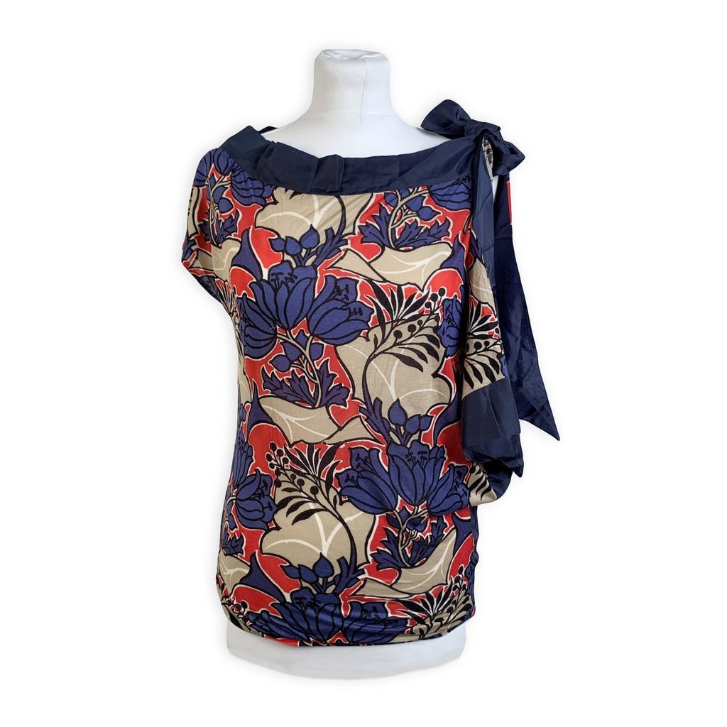 Prada Blue Floral Jersey Asymmetric T Shirt Top with Bow Size S