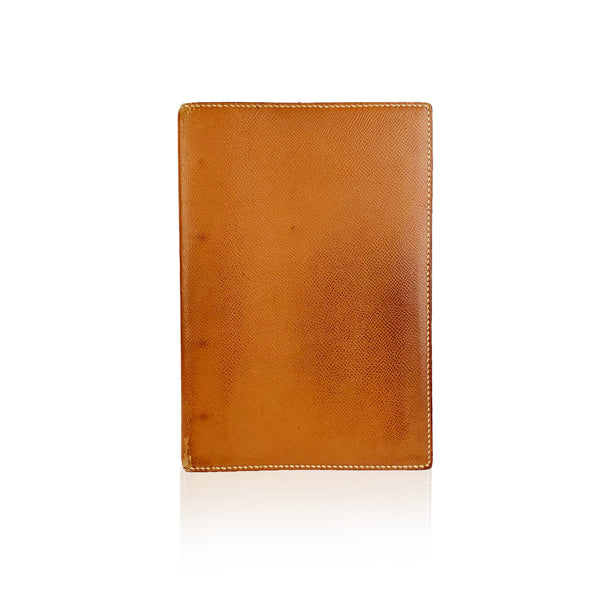 Hermes Vintage Tan Leather 4 Ring Address Book Agenda