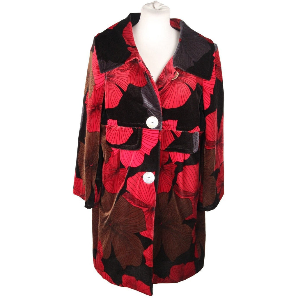 Per Non Dormire Red and Black Floral Pattern Velvet Coat Size 40 - OPHERTY & CIOCCI