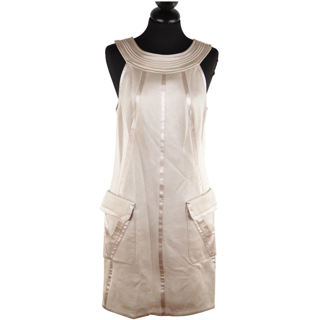 Versace Beige Halter Shift Dress 2006 Fall Collection Size 42 - OPHERTY & CIOCCI