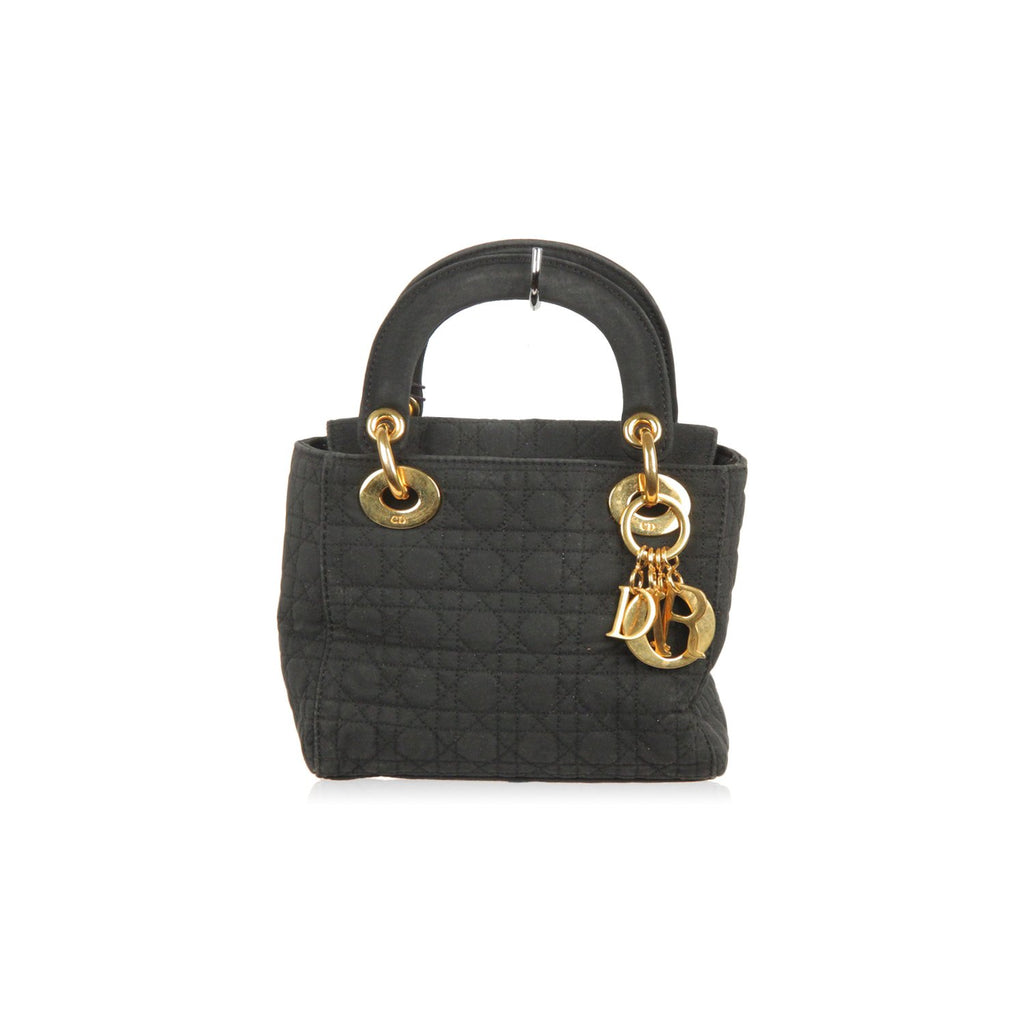 CHRISTIAN DIOR Black CANNAGE Quilted Canvas Mini LADY DIOR Bag