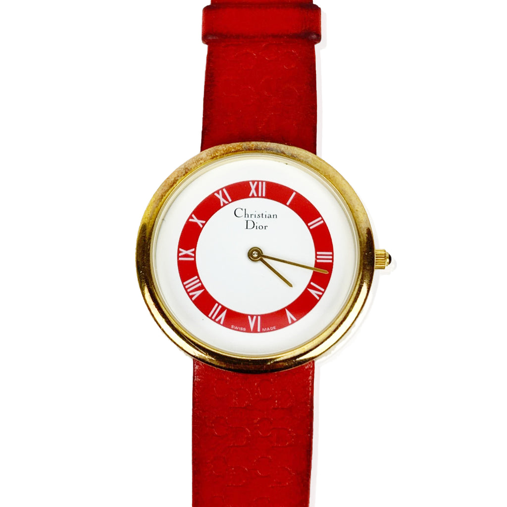 Christian Dior Vintage 3058 Round Wrist Watch Red Leather Strap