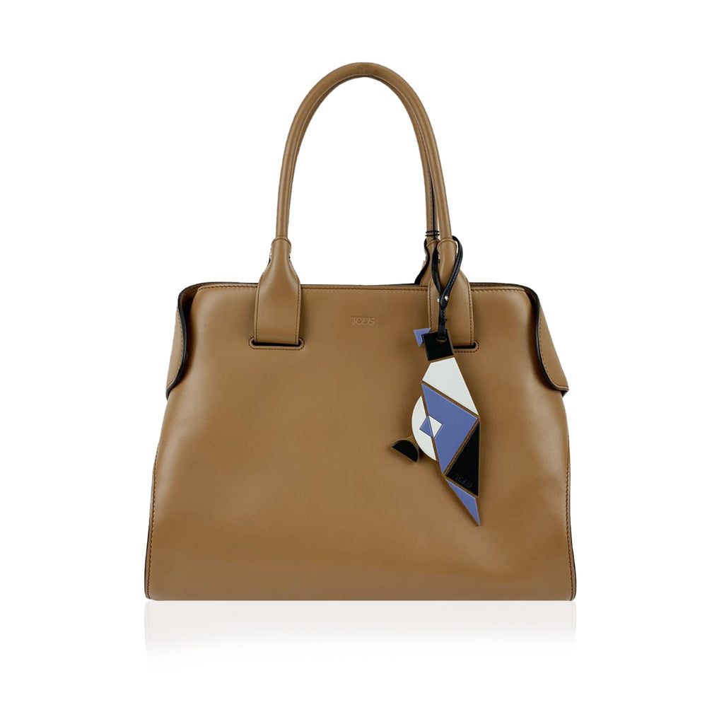 Tod's Beige Light Brown Leather Medium Tangram Cape Tote Bag