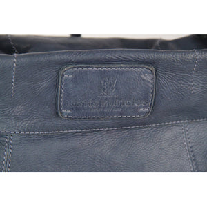 AUNTS & UNCLES Blue Leather Primrose Tote Shoulder Bag