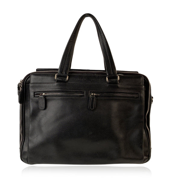 Salvatore Ferragamo Black Leather Briefcase Satchel Bag