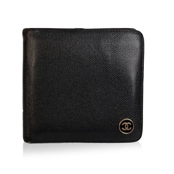 Chanel Black Leather Bifold Wallet Coin Purse with CC Logo