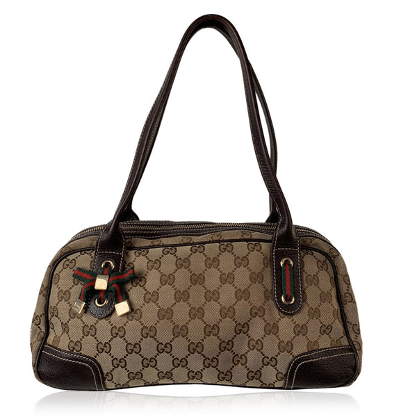 Gucci Brown Monogram Canvas Princy Boston Bag Bowler Satchel