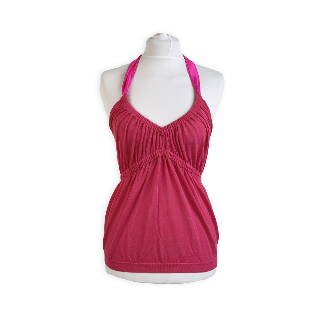 Christian Dior Fuchsia Pink Cotton Halterneck Top Size 42 IT