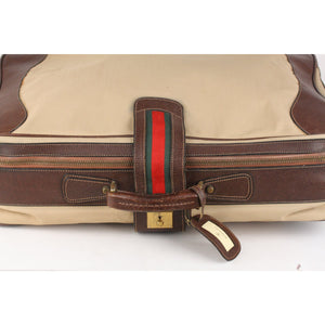 Vintage Travel Bag Suitcase with Stripes