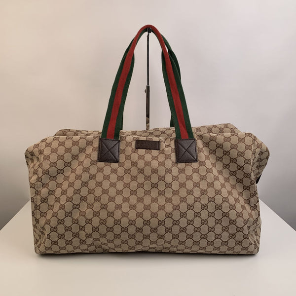 Gucci Beige Monogram Canvas Web Duffle Duffel Travel Bag