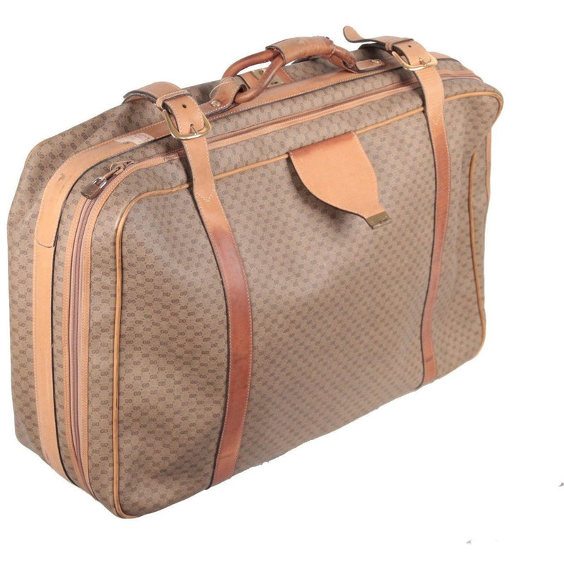 Gucci Vintage Tan GG Monogram Canvas Suitcase