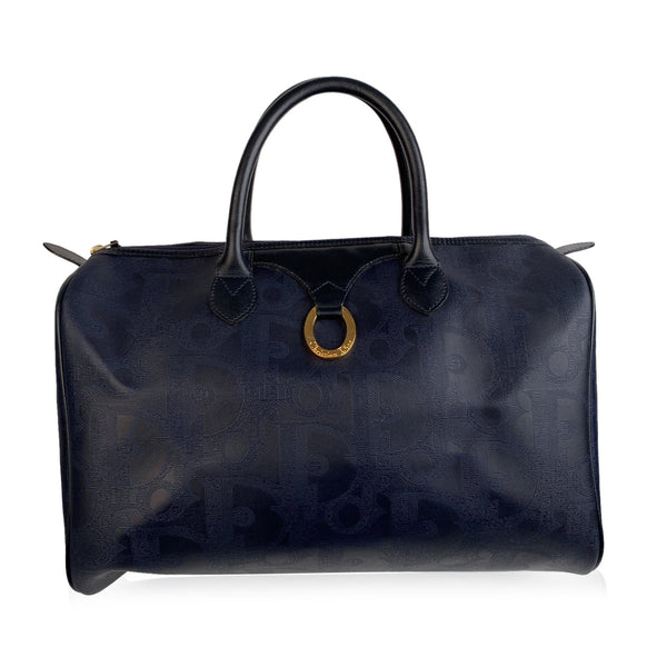 Christian Dior Blue Vintage Monogram Duffle Satchel Weekender Bag