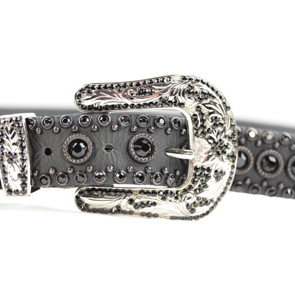Western Belt with Black Crystals Size 36