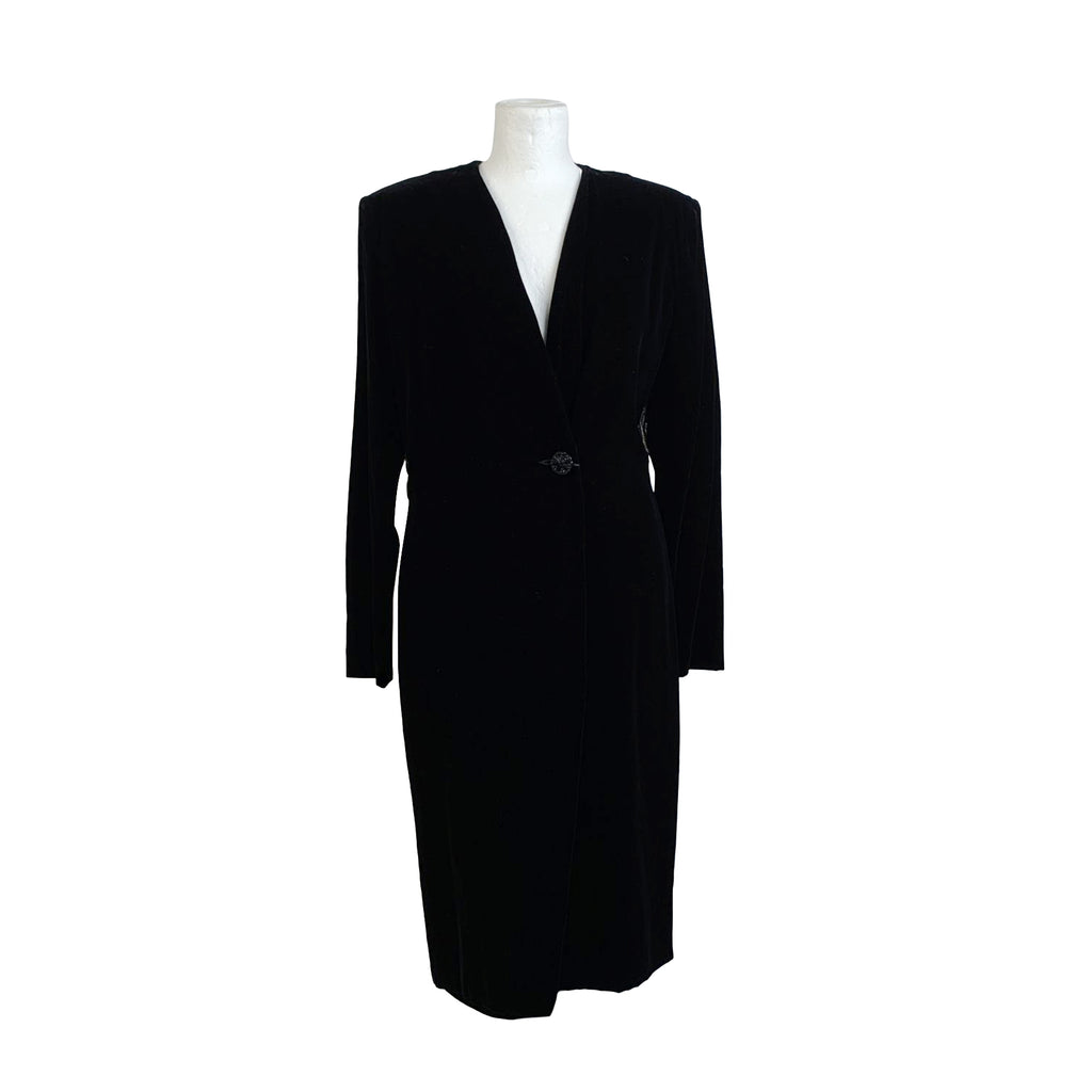 Alma Vintage Black Velvet Long Sleeve Wrap Dress Size 44