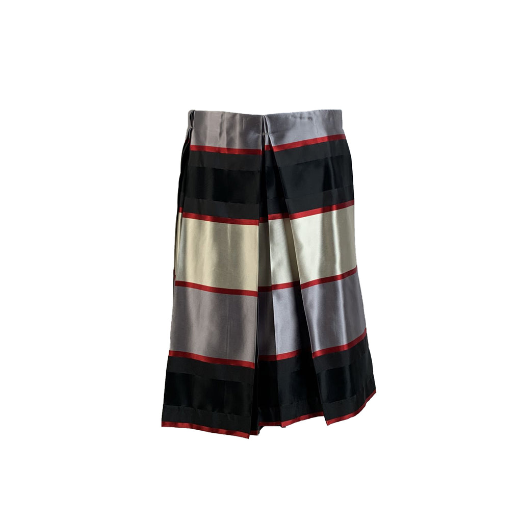 Emporio Armani Satin Striped A Line Pleated Skirt Size 42 IT