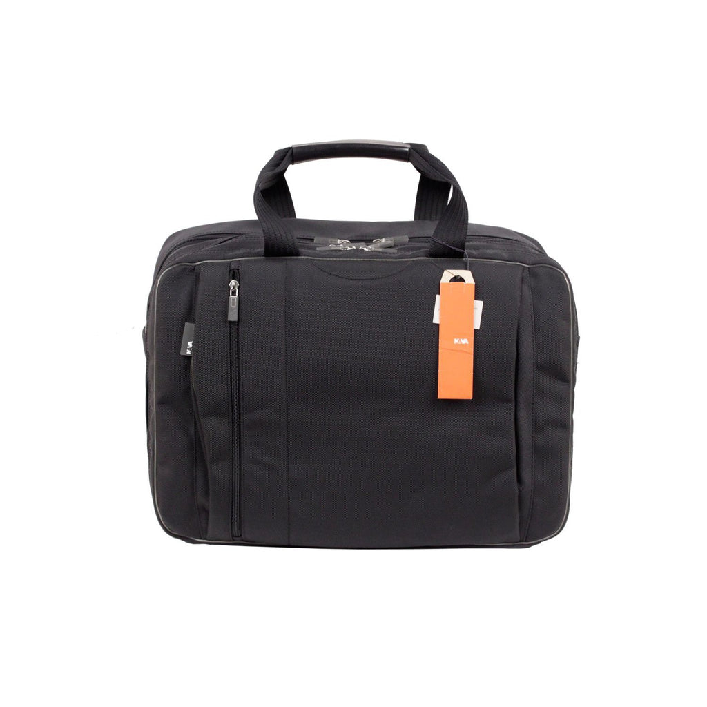 Nava Black Canvas 3 Compartments Briefcase Travel Bag Work Bag