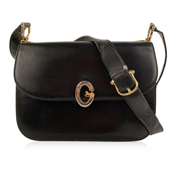 Celine Vintage Black Leather Box Flap Shoulder Bag Purse