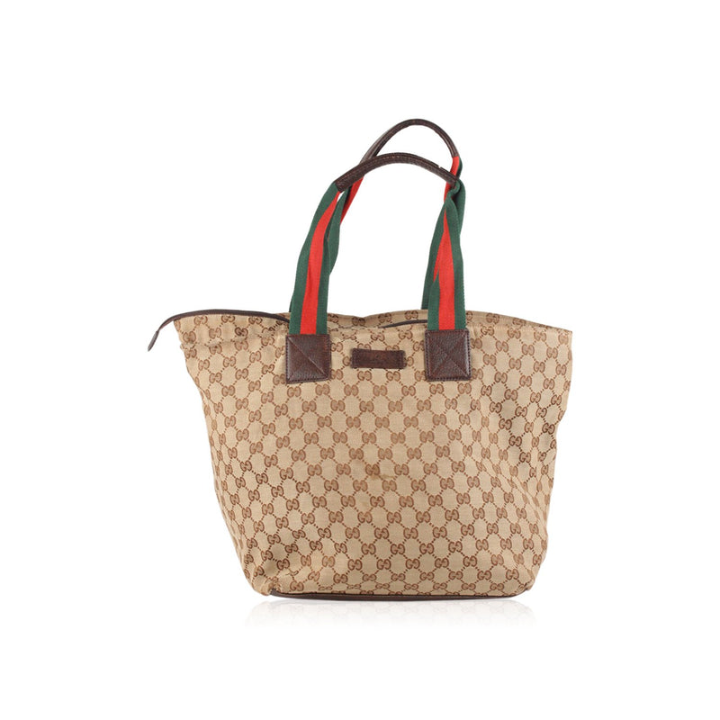 Monogram Tote with Striped Handles