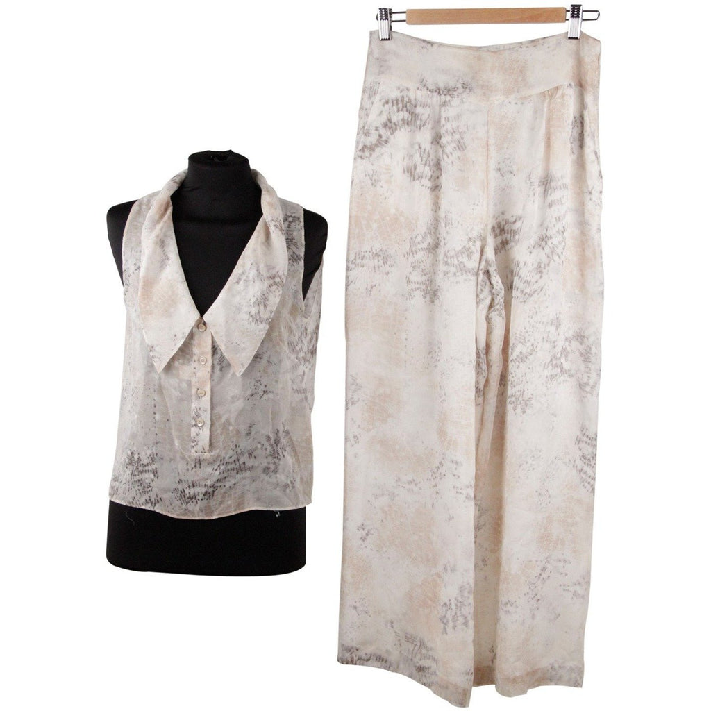 Krizia Silk Sleeveless Top and Wide Leg Trousers Set Size 42 - OPHERTY & CIOCCI
