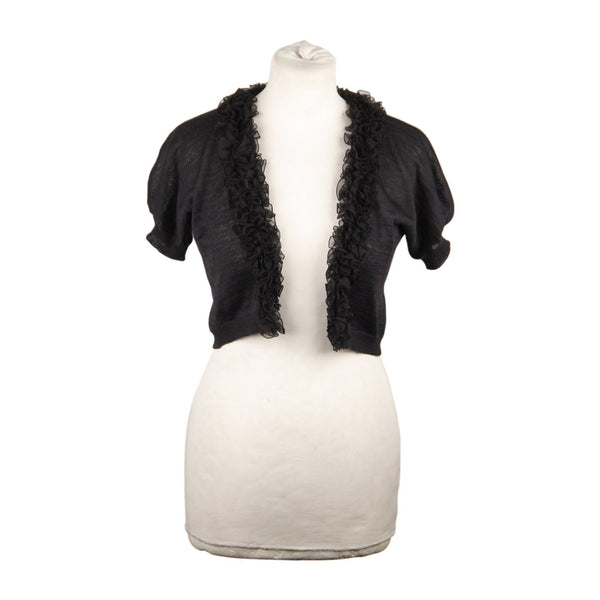 Giambattista Valli Giambattista Valli Black Silk and Linen Cropped Cardigan Size 42