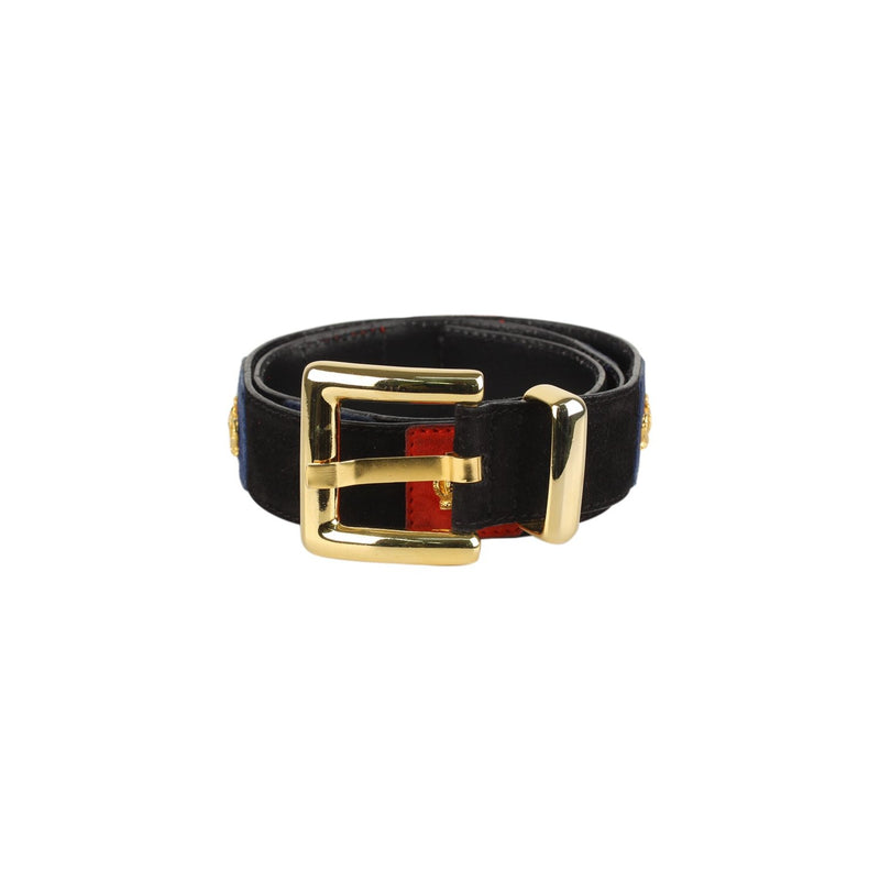 Escada Vintage Black Suede Crown Woman Belt