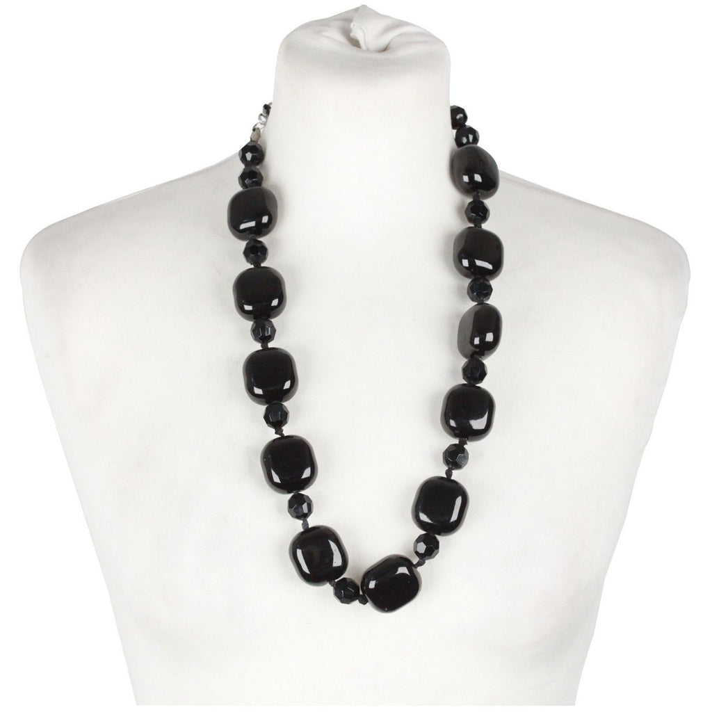 Italian Black Glass Stones Womens Vintage Necklace