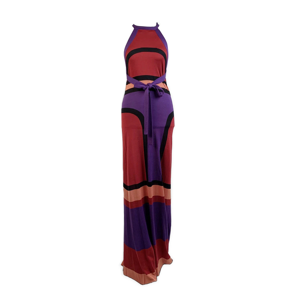 Balenciaga Color Block Knit Silk Halterneck Maxi Dress Size 40 IT