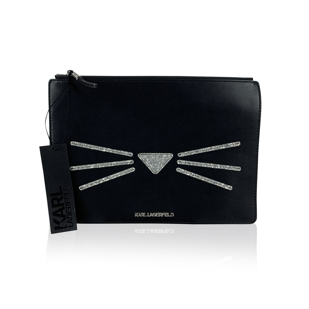 Karl Lagerfeld Black Leather Look Cat Whiskers Clutch Pouch