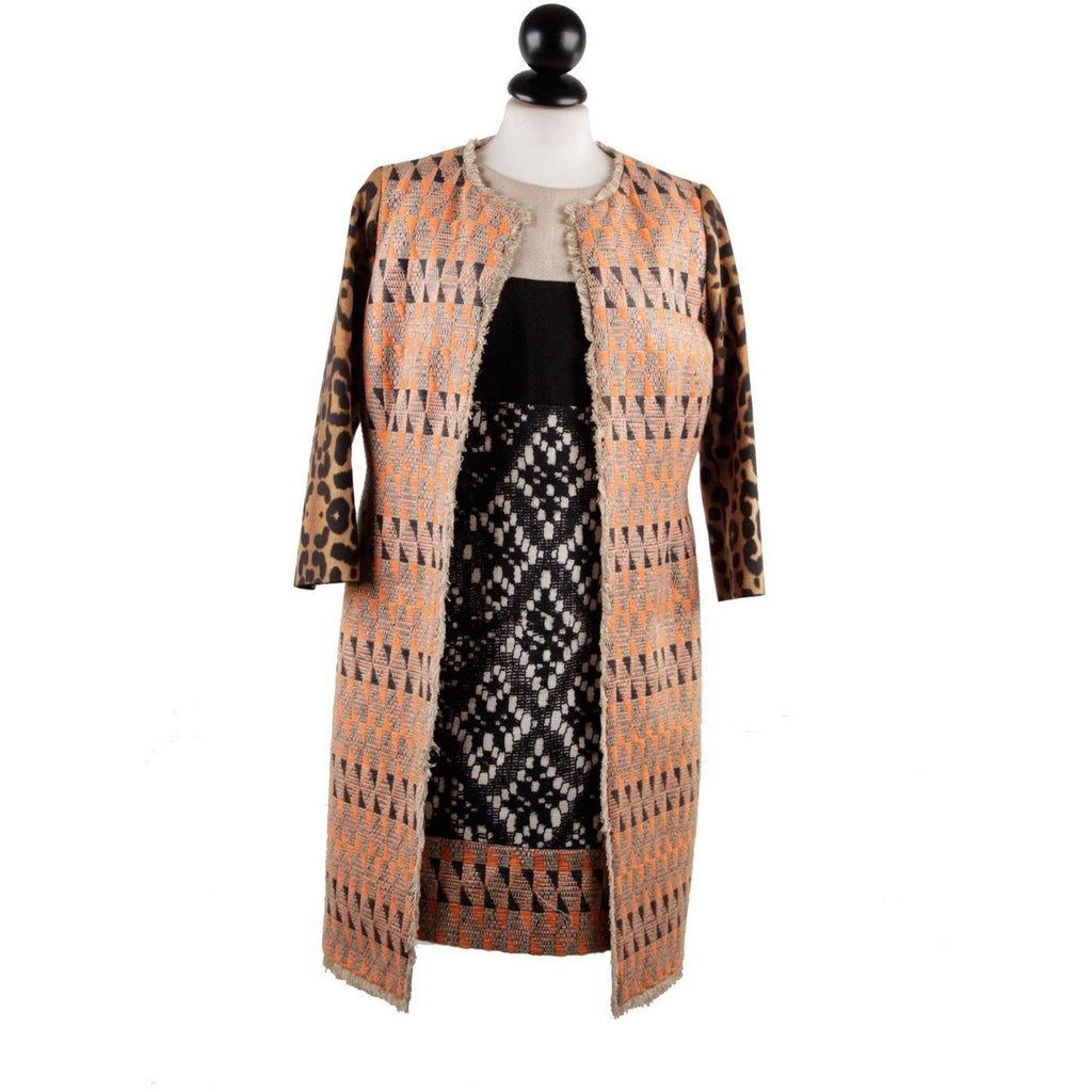Patterned Panelled Shift Dress and Coat Suit Size S