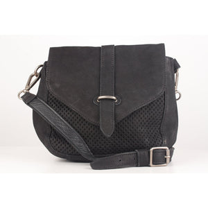 Perforated Crossbody Messenger Bag