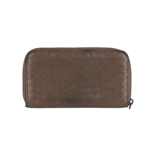 Bottega Veneta Intrecciato Taupe Leather Zip Around Continental Wallet
