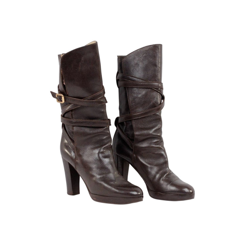 Chloe Heeled Boots Wrap-Strap Size 39