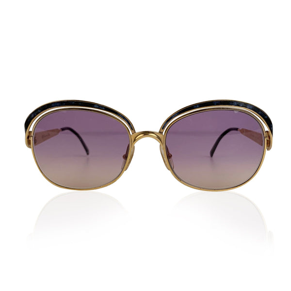 Christian Dior Vintage Gold Metal Sunglasses Marbled Enamel