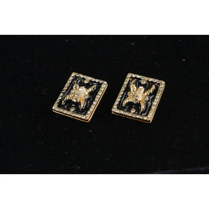 Vintage Enamel and Crystals Earrings