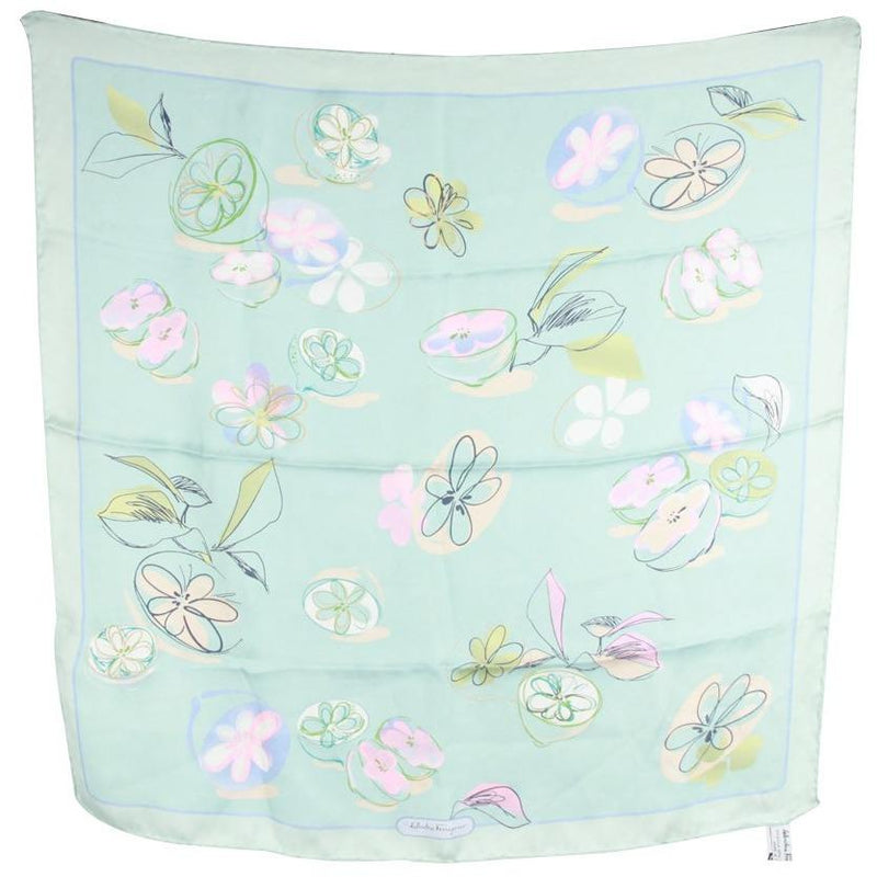 SALVATORE FERRAGAMO Light Blue Chiffon Silk SCARF Floral