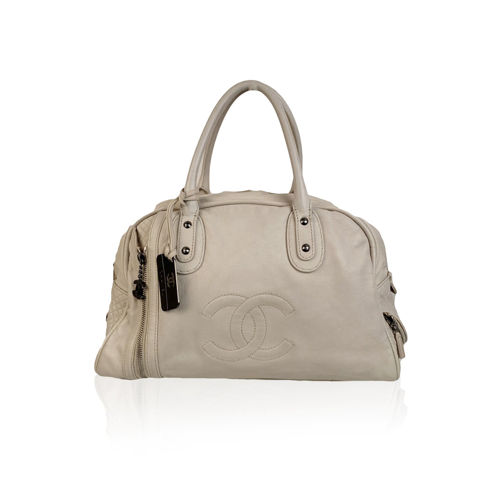 Chanel White Leather CC Logo Bowling Bowler Duffle Bag