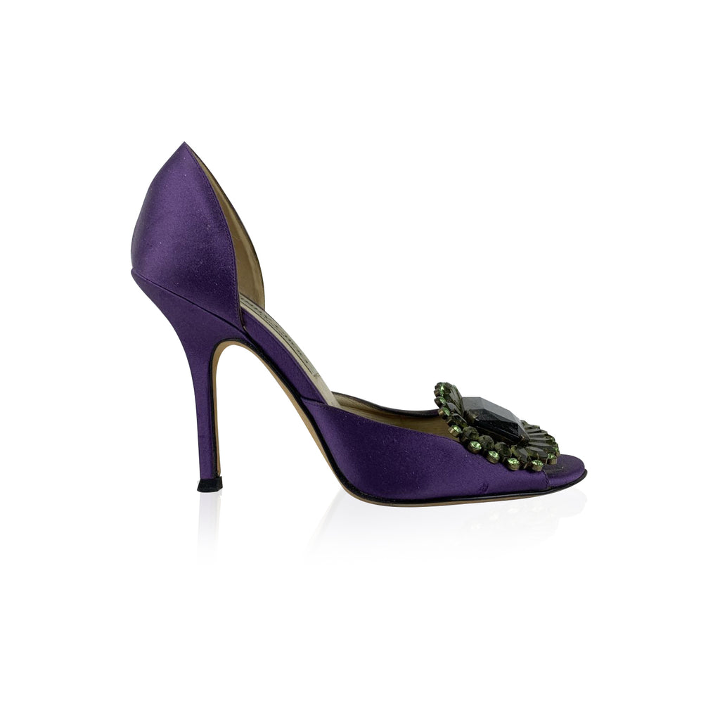 Jimmy Choo Purple Satin Big Crystal Jewel Peep Toe Pumps Size 35.5