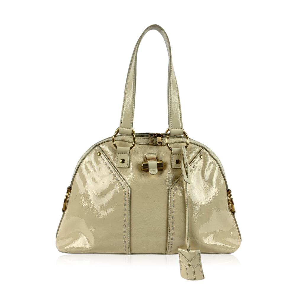Yves Saint Laurent Beige Leather Muse Tote Shoulder Bag