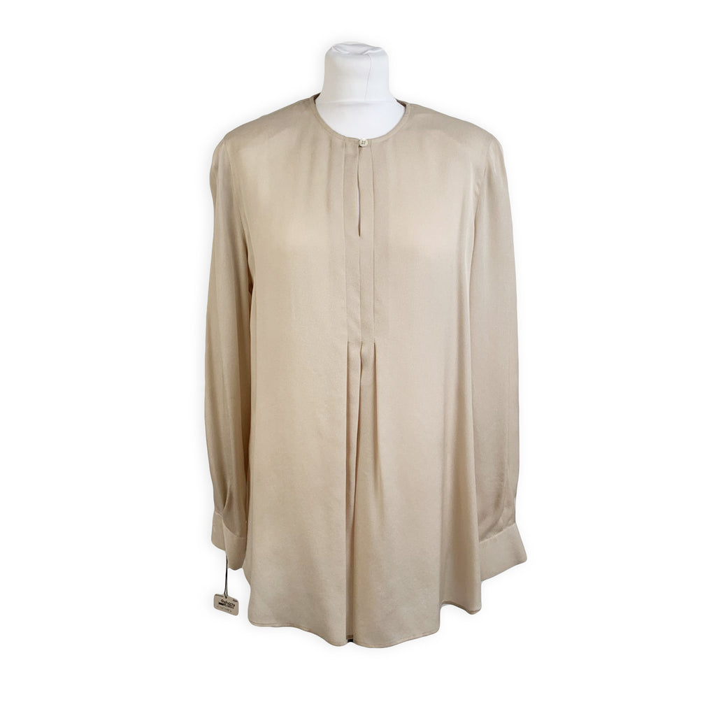 Gibierre Donna Vintage Beige Silk Shirt Long Sleeve Blouse Size 44