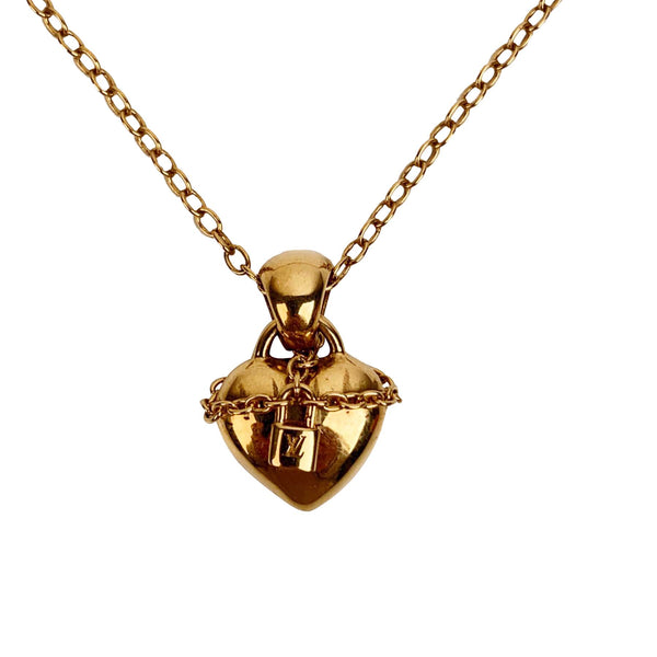 Louis Vuitton Gold Metal Love Lock Pendant Necklace