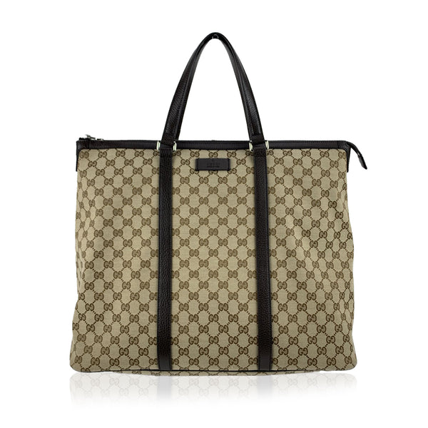 Gucci Dark Brown Monogram Canvas Large Tote Bag