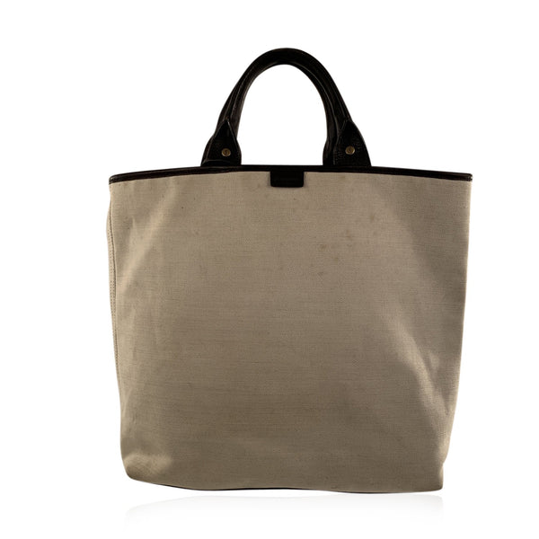 Yves Saint Laurent Beige Canvas and Brown Leather Tote Bag