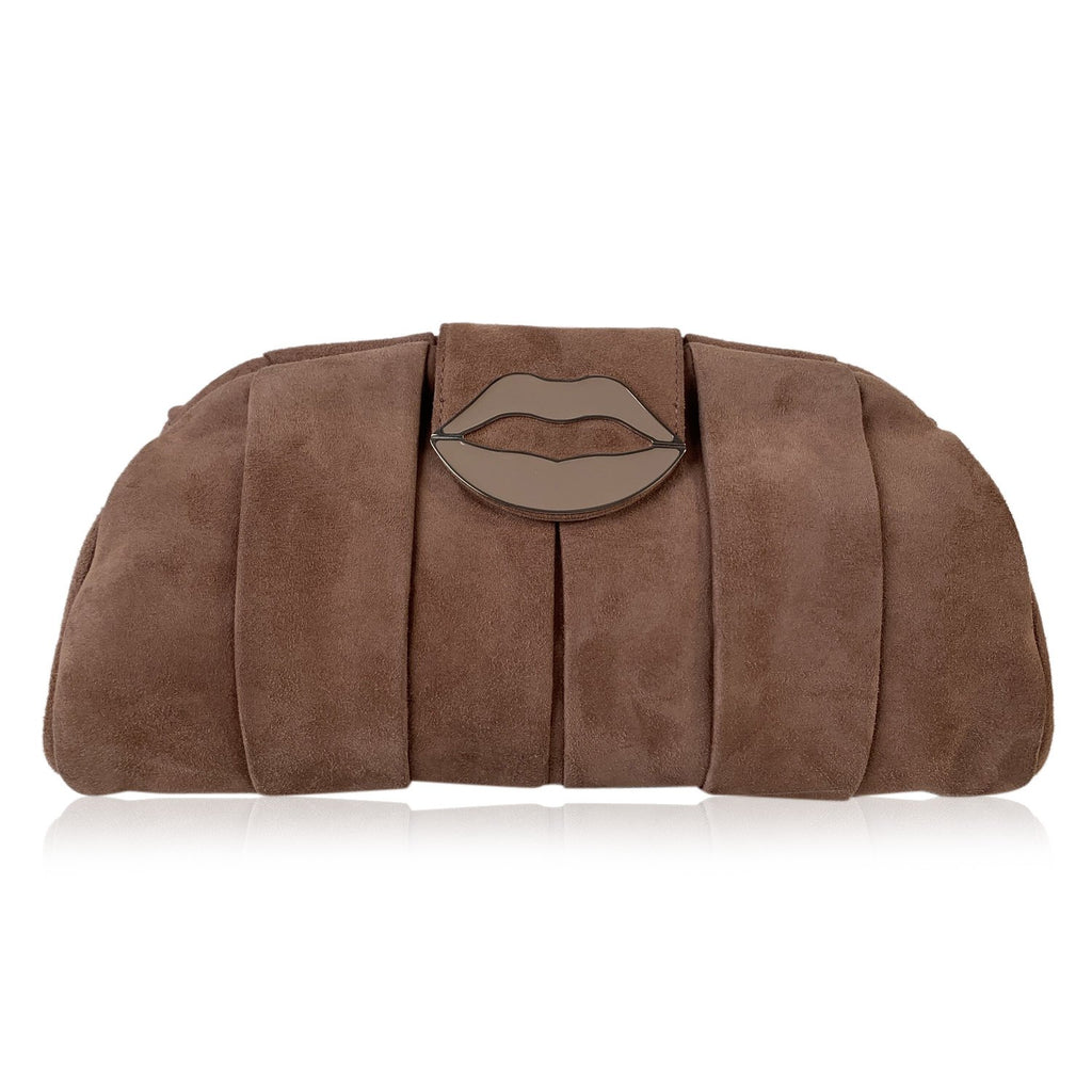 Yves Saint Laurent Pink Suede Lips Clutch Evening Bag Tom Ford Era - OPHERTY & CIOCCI