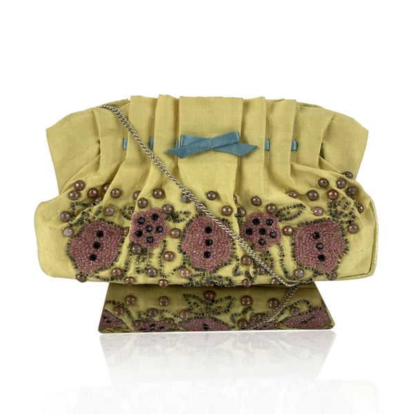 Blumarine Yellow Hand Embroidred Fabric Small Evening Bag