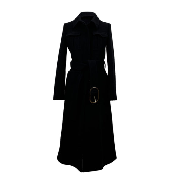Stella McCartney Black Wool Belted Coat Size 38 IT