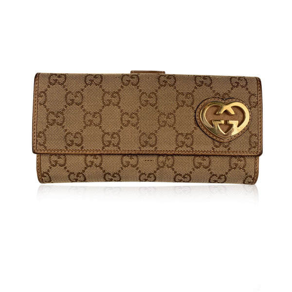 Gucci Brown Canvas Monogram Long Heart Guccissima Wallet Card Holder