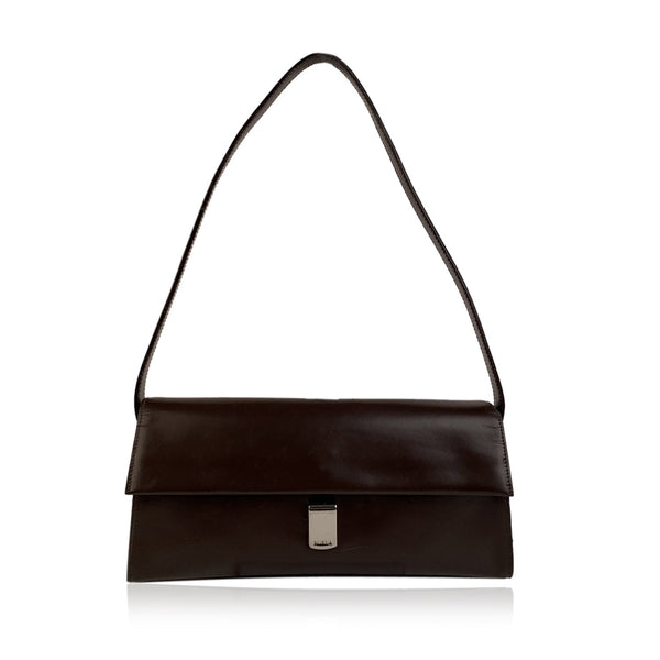 Furla Vintage Brown Leather Structured Shoulder Bag