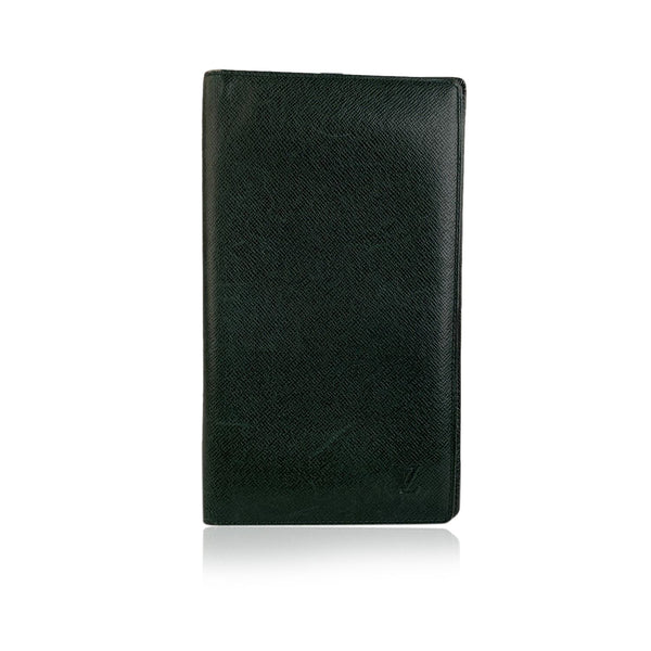 Louis Vuitton Vintage Green Taiga Leather Vertical Bifold Wallet