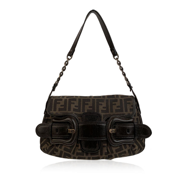 Fendi Zucca Monogram Canvas B Bis Bag Shoulder Bag