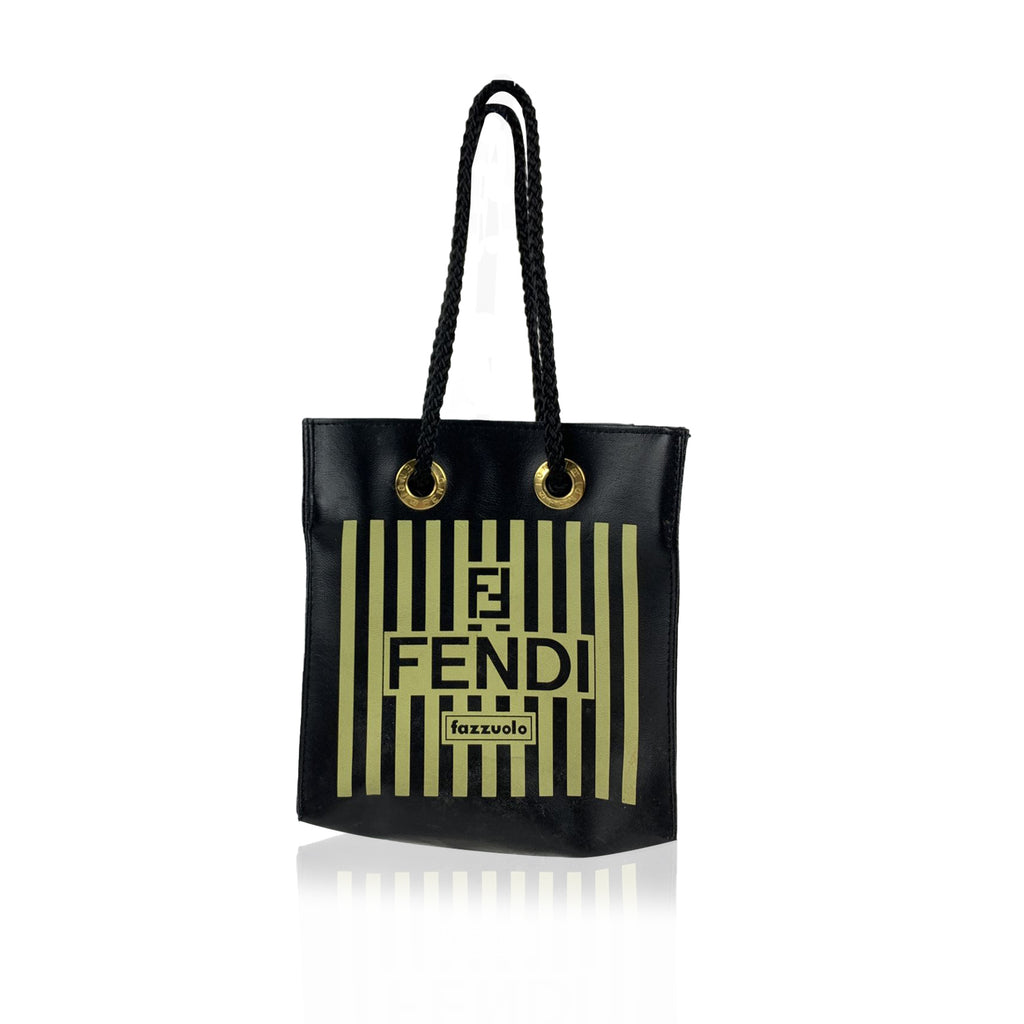 Fendi Fazzuolo Rare Vintage Striped Canvas Mini Tote Bag Handbag